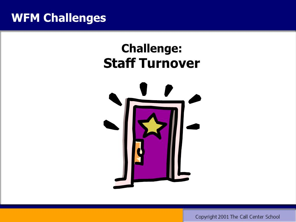 Copyright 2001 The Call Center School WFM Challenges Challenge: Staff Turnover