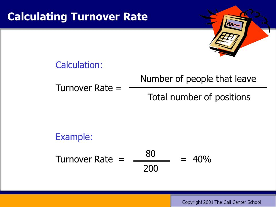 Copyright 2001 The Call Center School Calculating Turnover Rate Turnover Rate = = 40% 80 200 Calculation: Example: Turnover Rate = Number of people that leave Total number of positions