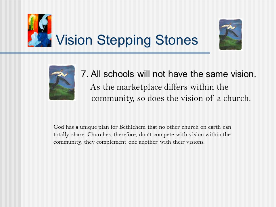 Vision Stepping Stones 7. All schools will not have the same vision.