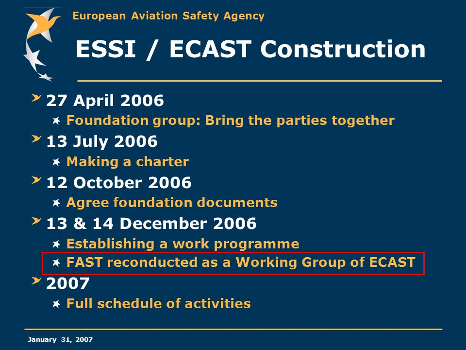 European Aviation Safety Agency January 31, 2007 ESSI / ECAST Construction 27 April 2006 Foundation group: Bring the parties together 13 July 2006 Mak