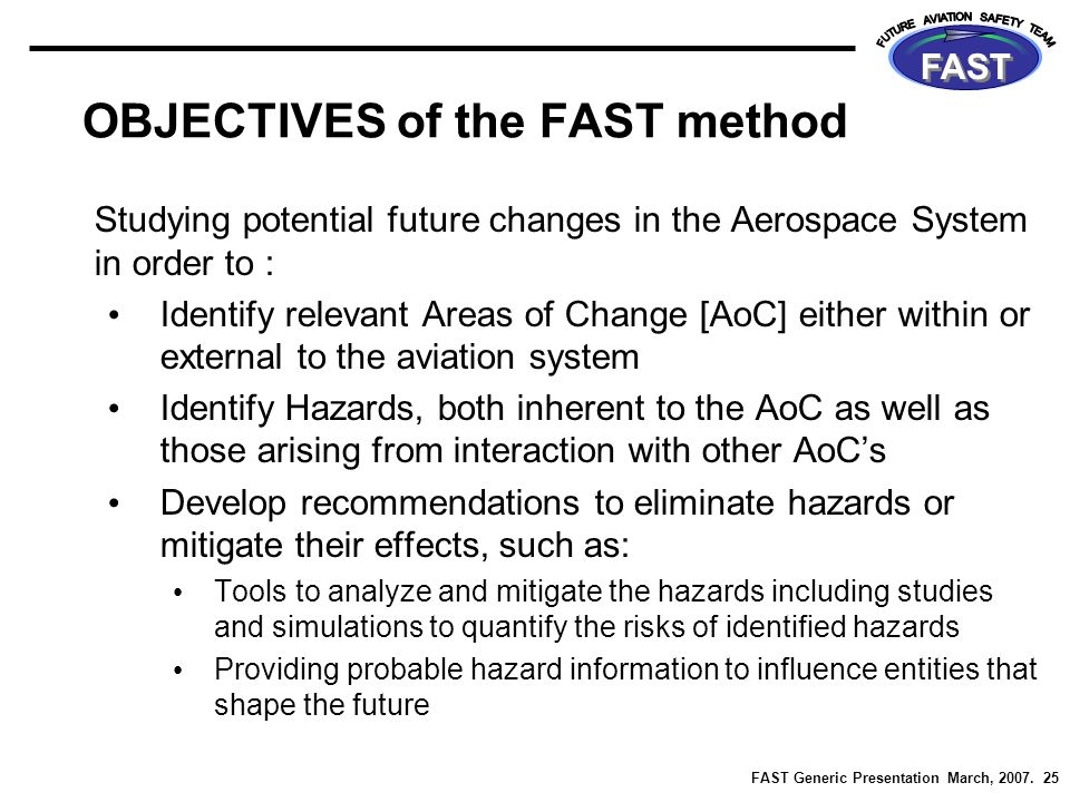 FAST Generic Presentation March, 2007. 25 FAST OBJECTIVES of the FAST method Studying potential future changes in the Aerospace System in order to : I