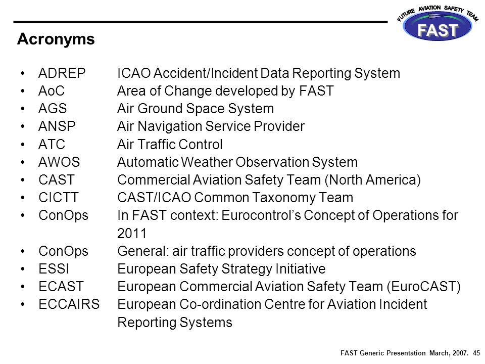 FAST Generic Presentation March, 2007. 45 FAST Acronyms ADREPICAO Accident/Incident Data Reporting System AoCArea of Change developed by FAST AGSAir G