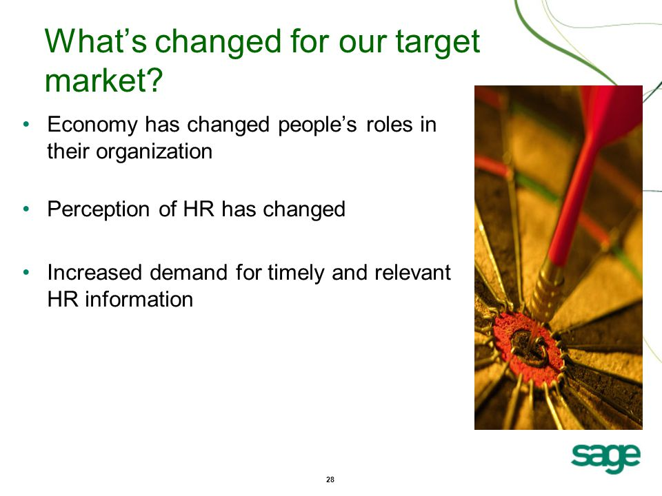 28 What's changed for our target market.