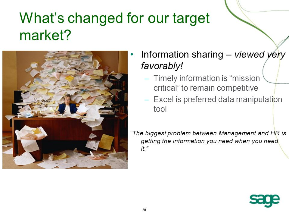 29 What's changed for our target market. Information sharing – viewed very favorably.