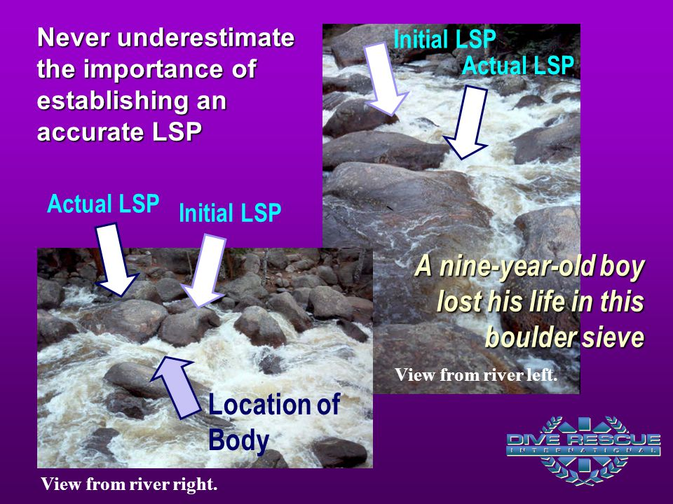 Actual LSP Initial LSP Never underestimate the importance of establishing an accurate LSP A nine-year-old boy lost his life in this boulder sieve Location of Body View from river right.
