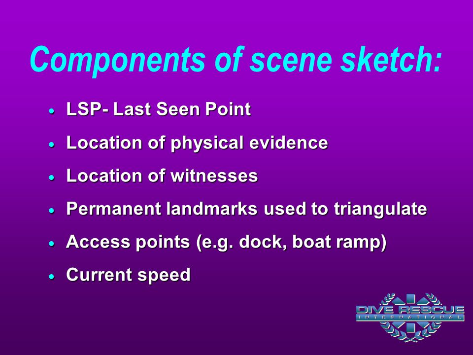 Components of scene sketch:  LSP- Last Seen Point  Location of physical evidence  Location of witnesses  Permanent landmarks used to triangulate  Access points (e.g.