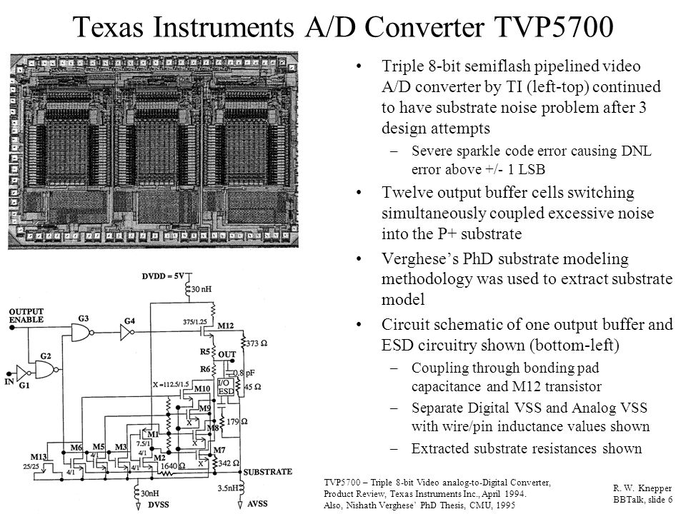 Texas Instruments A/D Converter TVP5700 Triple 8-bit semiflash pipelined video A/D converter by TI (left-top) continued to have substrate noise problem after 3 design attempts –Severe sparkle code error causing DNL error above +/- 1 LSB Twelve output buffer cells switching simultaneously coupled excessive noise into the P+ substrate Verghese's PhD substrate modeling methodology was used to extract substrate model Circuit schematic of one output buffer and ESD circuitry shown (bottom-left) –Coupling through bonding pad capacitance and M12 transistor –Separate Digital VSS and Analog VSS with wire/pin inductance values shown –Extracted substrate resistances shown R.