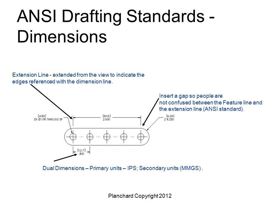 Planchard Copyright 2012 ANSI Drafting Standards - Dimensions Insert a gap so people are not confused between the Feature line and the extension line