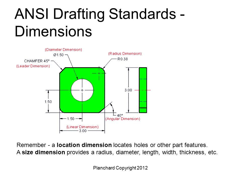 Planchard Copyright 2012 ANSI Drafting Standards - Dimensions Remember - a location dimension locates holes or other part features. A size dimension p