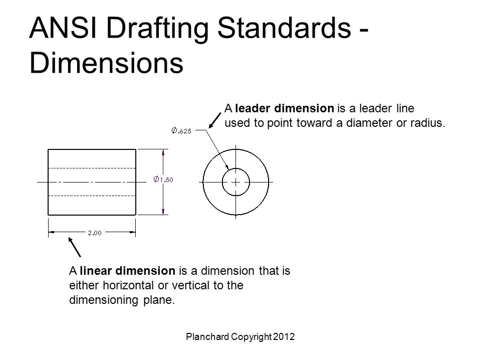 Planchard Copyright 2012 ANSI Drafting Standards - Dimensions A leader dimension is a leader line used to point toward a diameter or radius. A linear