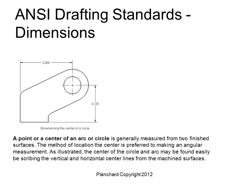Planchard Copyright 2012 ANSI Drafting Standards - Dimensions A point or a center of an arc or circle is generally measured from two finished surfaces