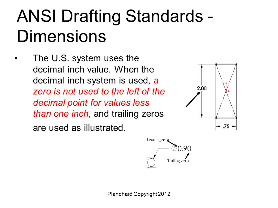 Planchard Copyright 2012 ANSI Drafting Standards - Dimensions The U.S. system uses the decimal inch value. When the decimal inch system is used, a zer