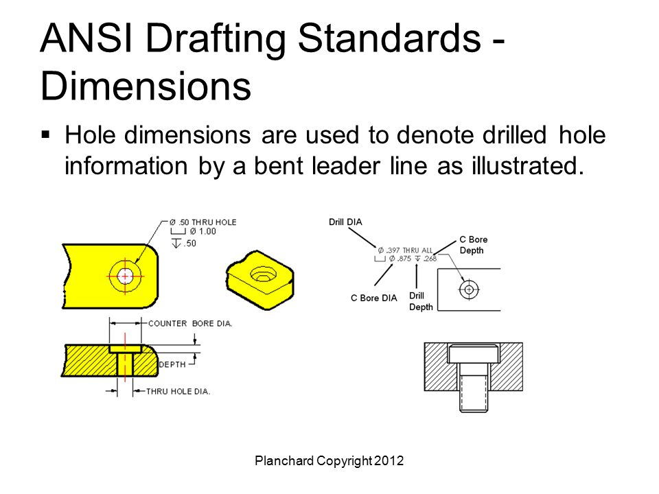 Planchard Copyright 2012 ANSI Drafting Standards - Dimensions  Hole dimensions are used to denote drilled hole information by a bent leader line as i