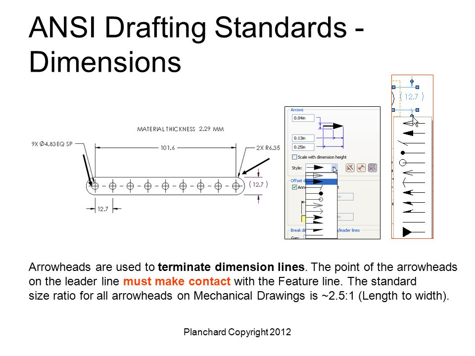 Planchard Copyright 2012 ANSI Drafting Standards - Dimensions  Working drawing are usually drawn with all U.S.