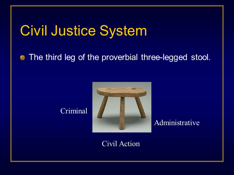 Civil Justice System The third leg of the proverbial three-legged stool. Criminal Administrative Civil Action