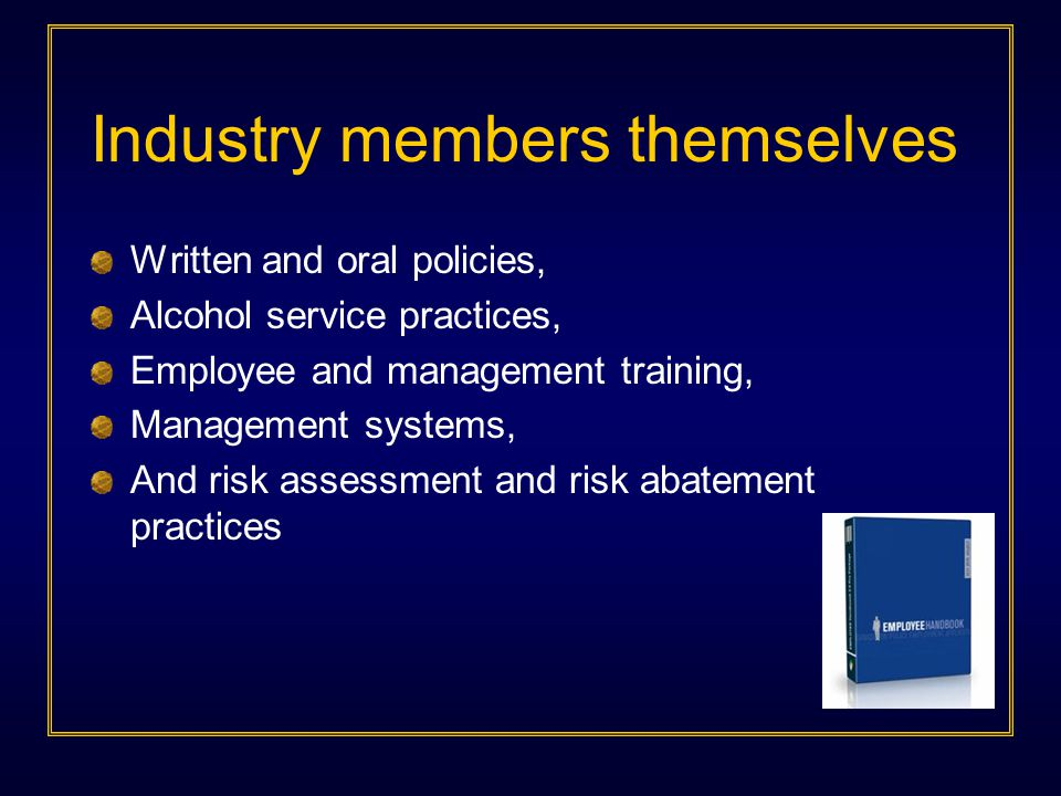 Industry members themselves Written and oral policies, Alcohol service practices, Employee and management training, Management systems, And risk assessment and risk abatement practices