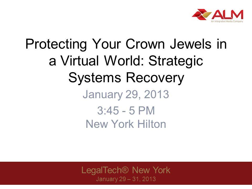 LegalTech® New York 2013 42 Veeam Backup & Replication Bare metal hypervisor backup –Vmware/Hyper-V Deduplication Compression Changed Block Tracking (VMware CBT)