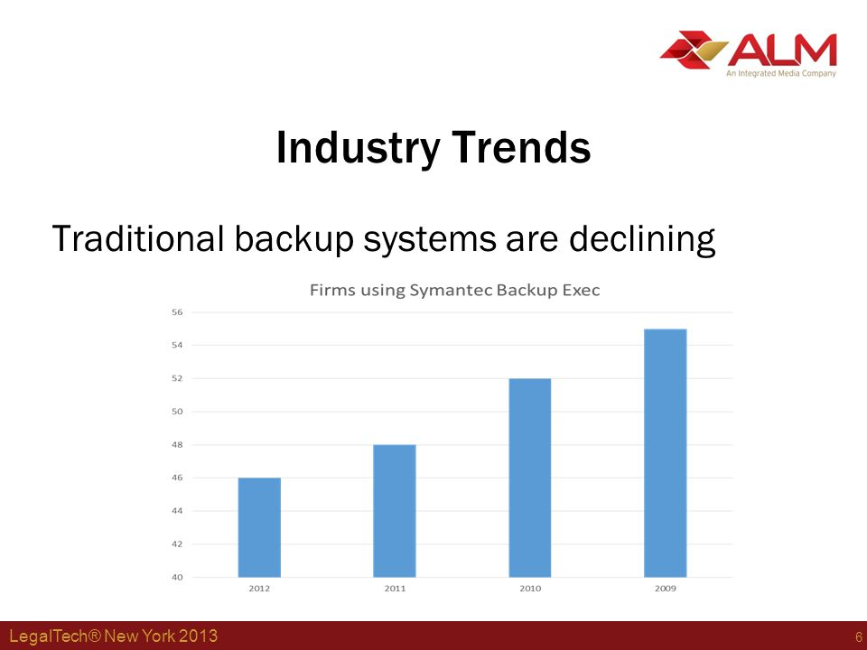 LegalTech® New York 2013 7 Industry Trends Firms increase use of disk-based backup