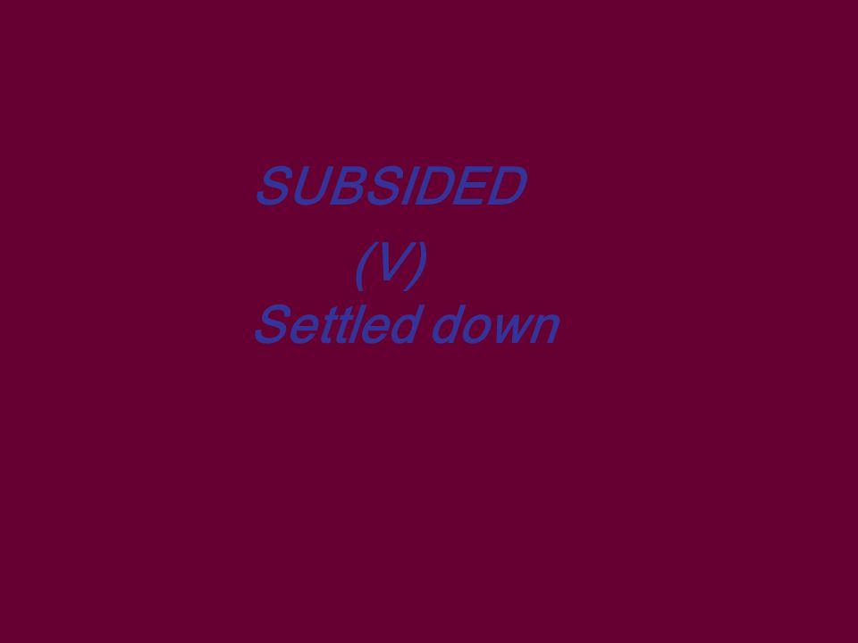 SUBSIDED (V) Settled down
