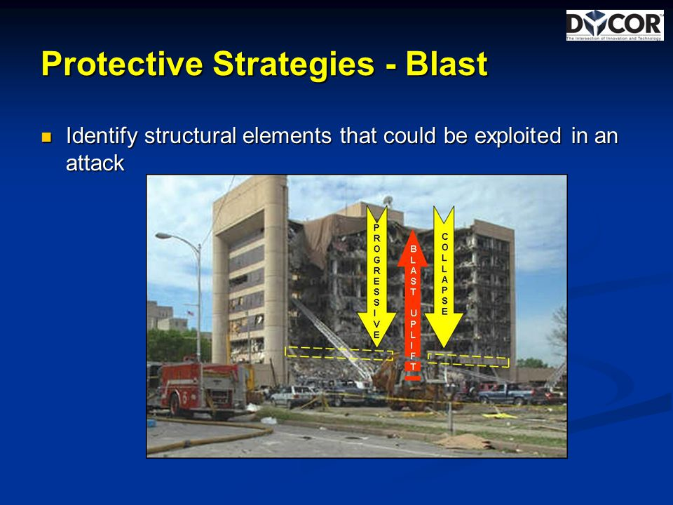 Protective Strategies - Blast Identify structural elements that could be exploited in an attack Identify structural elements that could be exploited in an attack