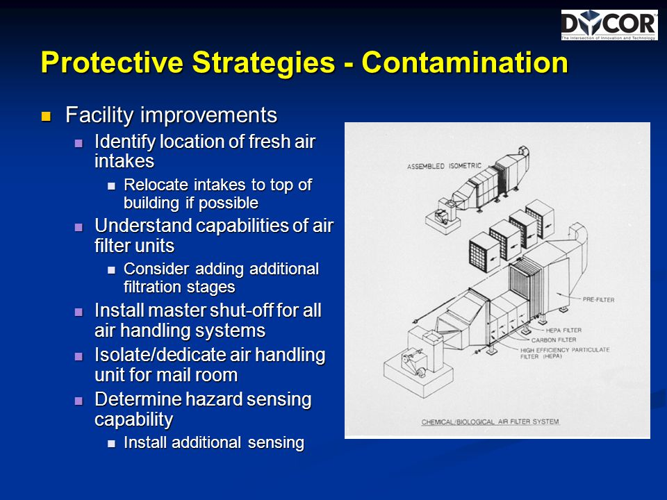 Protective Strategies - Contamination Facility improvements Facility improvements Identify location of fresh air intakes Identify location of fresh air intakes Relocate intakes to top of building if possible Relocate intakes to top of building if possible Understand capabilities of air filter units Understand capabilities of air filter units Consider adding additional filtration stages Consider adding additional filtration stages Install master shut-off for all air handling systems Install master shut-off for all air handling systems Isolate/dedicate air handling unit for mail room Isolate/dedicate air handling unit for mail room Determine hazard sensing capability Determine hazard sensing capability Install additional sensing Install additional sensing