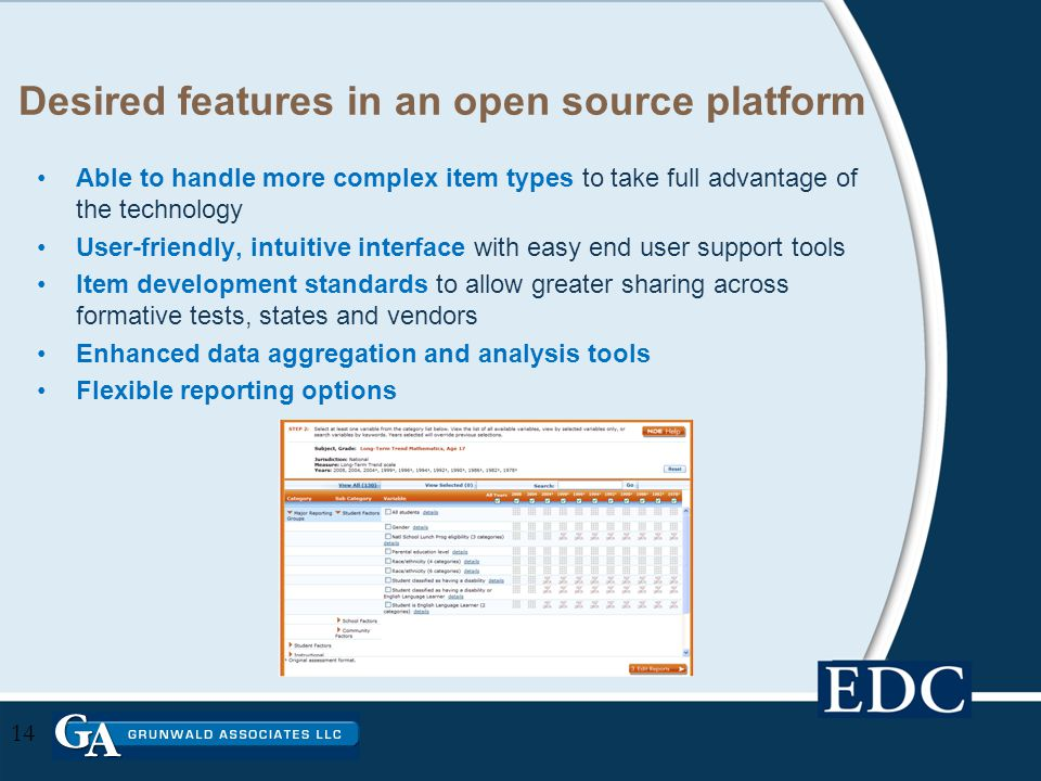 Desired features in an open source platform Able to handle more complex item types to take full advantage of the technology User-friendly, intuitive interface with easy end user support tools Item development standards to allow greater sharing across formative tests, states and vendors Enhanced data aggregation and analysis tools Flexible reporting options 14