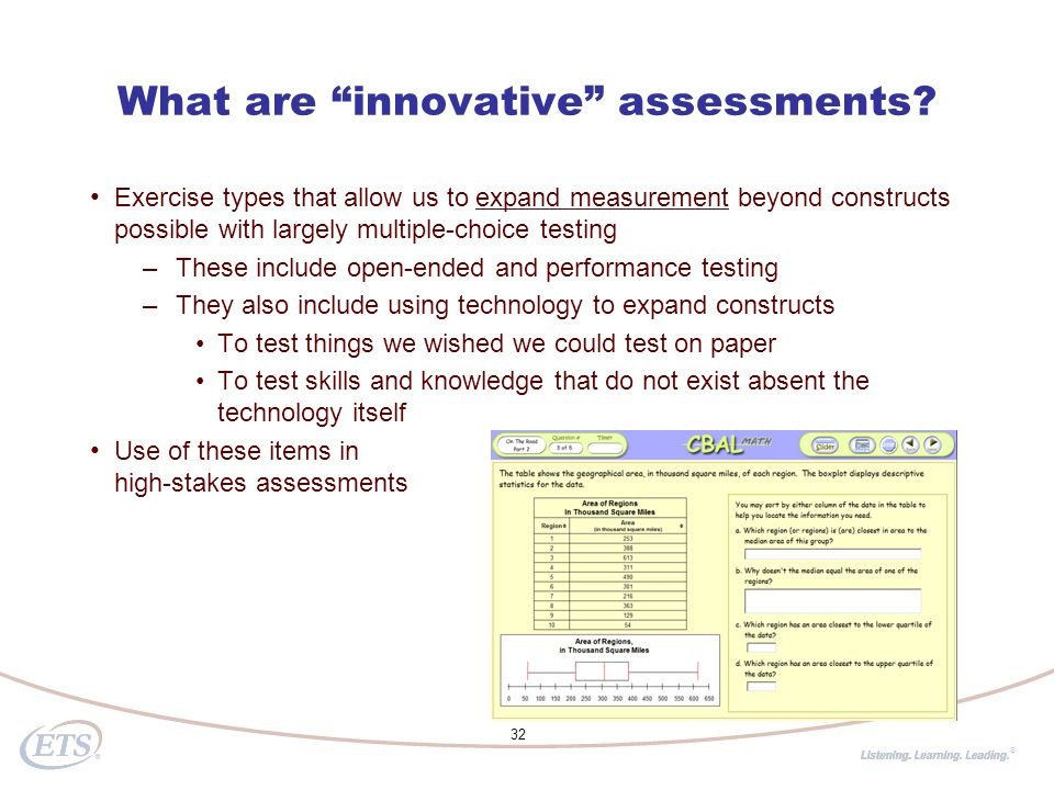 ® What are innovative assessments.