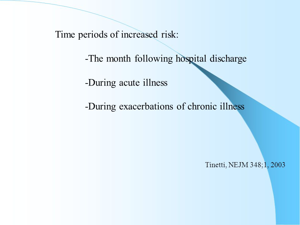 Time periods of increased risk: -The month following hospital discharge -During acute illness -During exacerbations of chronic illness Tinetti, NEJM 3