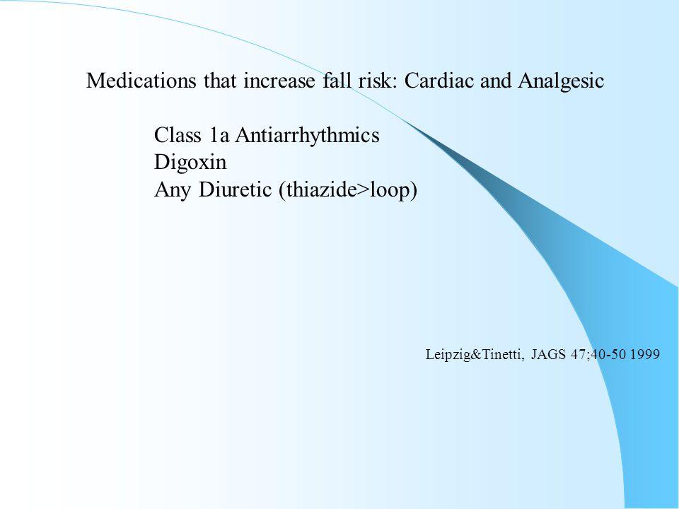 Medications that increase fall risk: Cardiac and Analgesic Class 1a Antiarrhythmics Digoxin Any Diuretic (thiazide>loop) Leipzig&Tinetti, JAGS 47;40-5