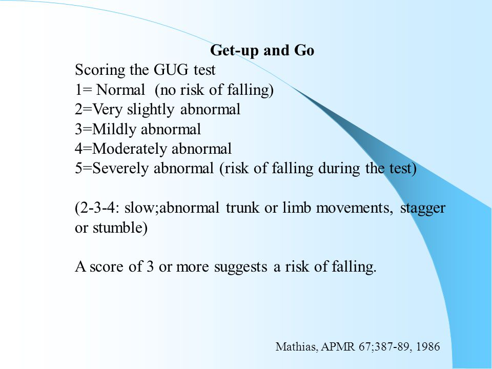 Get-up and Go Scoring the GUG test 1= Normal (no risk of falling) 2=Very slightly abnormal 3=Mildly abnormal 4=Moderately abnormal 5=Severely abnormal