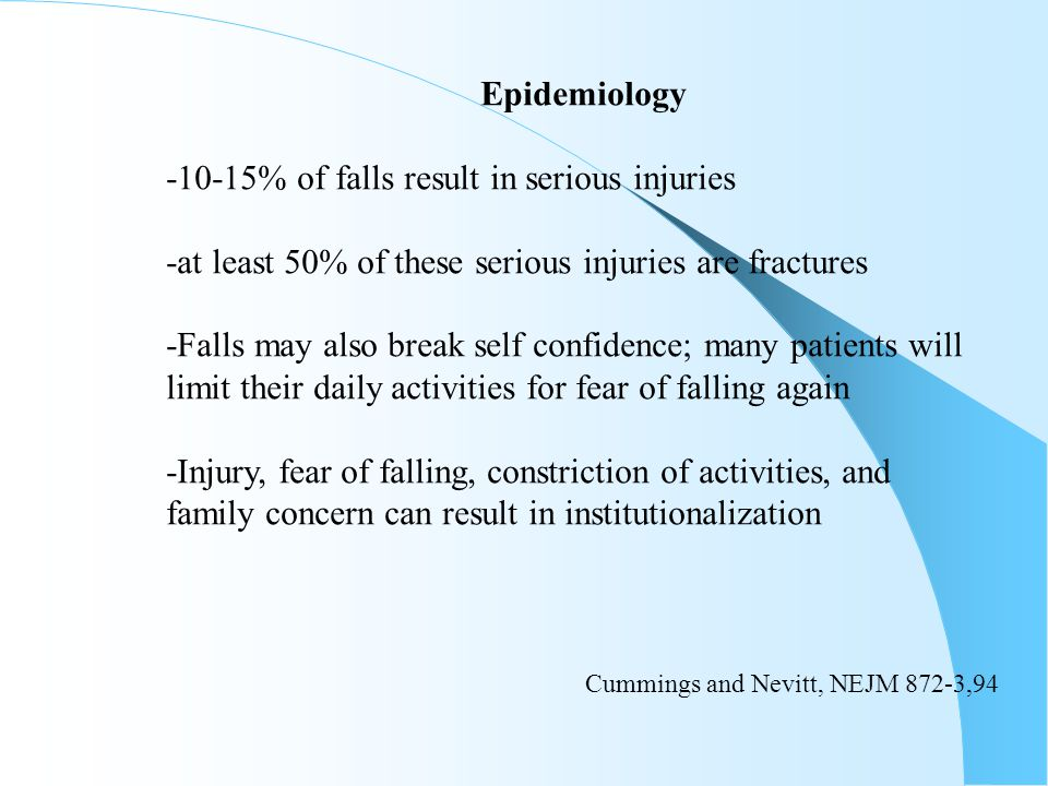 Epidemiology -10-15% of falls result in serious injuries -at least 50% of these serious injuries are fractures -Falls may also break self confidence;