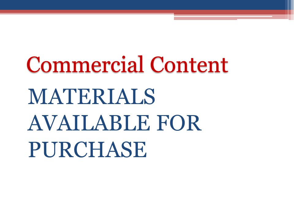 MATERIALS AVAILABLE FOR PURCHASE