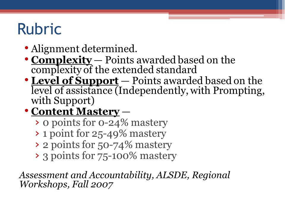 Alignment determined. Complexity — Points awarded based on the complexity of the extended standard Level of Support — Points awarded based on the leve