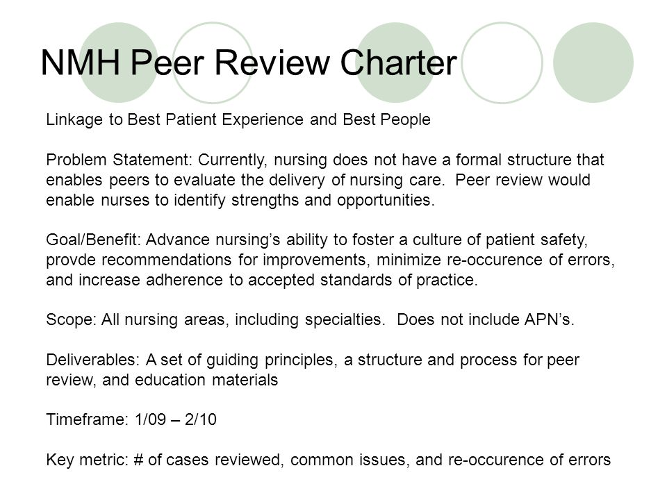 NMH Peer Review Charter Linkage to Best Patient Experience and Best People Problem Statement: Currently, nursing does not have a formal structure that enables peers to evaluate the delivery of nursing care.