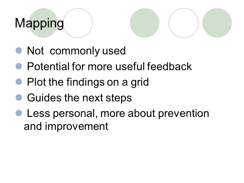 Mapping Not commonly used Potential for more useful feedback Plot the findings on a grid Guides the next steps Less personal, more about prevention and improvement
