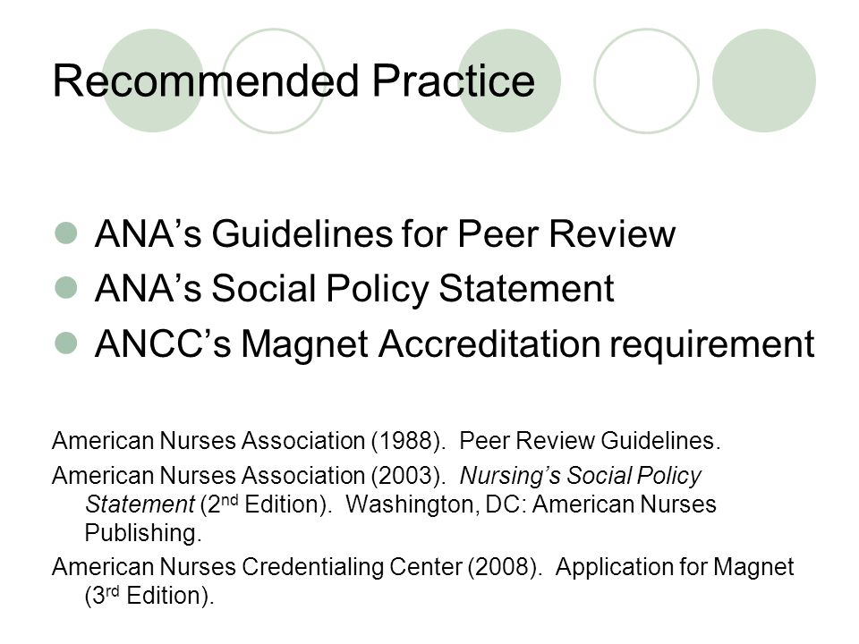 References American Nurses Association (1988).Peer Review Guidelines.