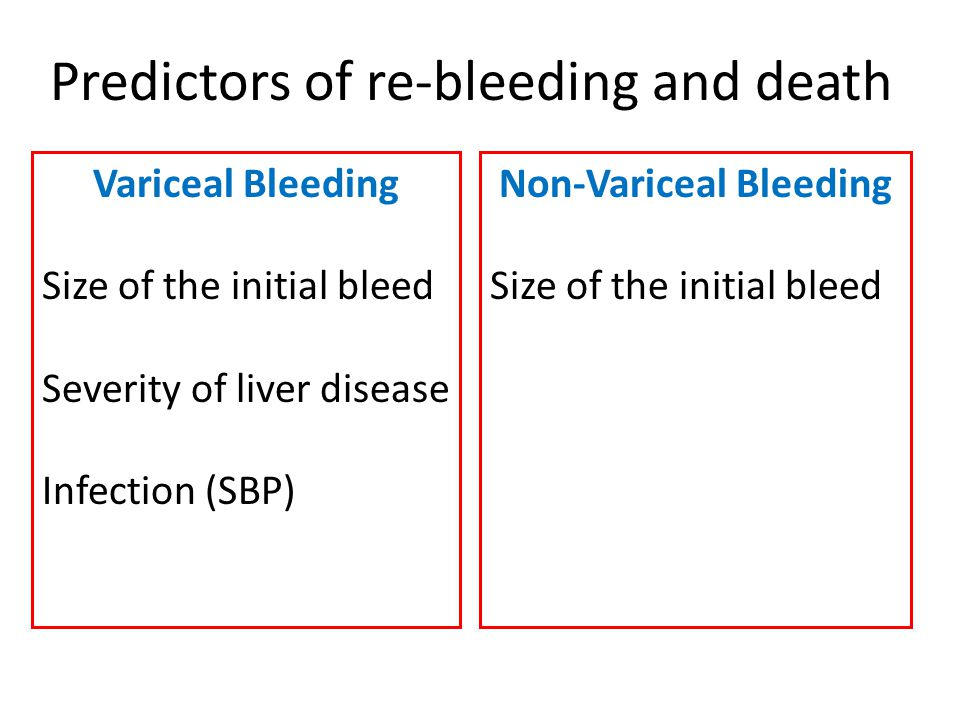 Predictors of re-bleeding and death Variceal Bleeding Size of the initial bleed Severity of liver disease Infection (SBP) Non-Variceal Bleeding Size o