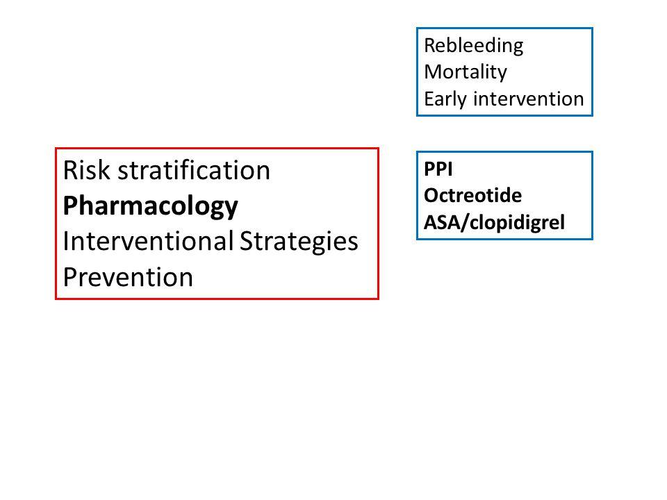 Risk stratification Pharmacology Interventional Strategies Prevention Rebleeding Mortality Early intervention PPI Octreotide ASA/clopidigrel Endoscopy Angiography