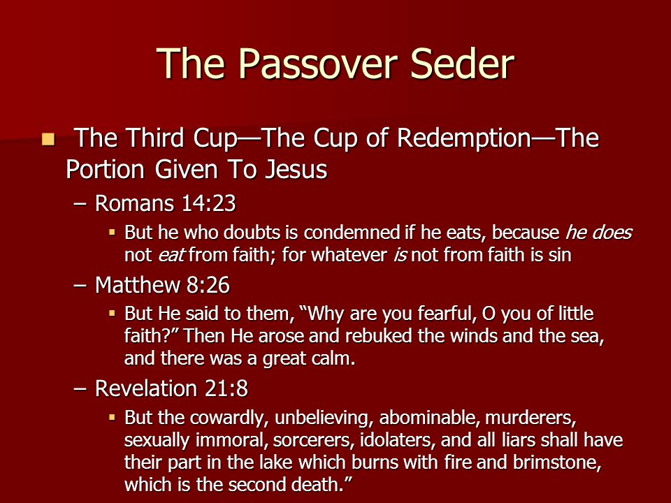 The Passover Seder The Third Cup—The Cup of Redemption—The Portion Given To Jesus The Third Cup—The Cup of Redemption—The Portion Given To Jesus –Romans 14:23  But he who doubts is condemned if he eats, because he does not eat from faith; for whatever is not from faith is sin –Matthew 8:26  But He said to them, Why are you fearful, O you of little faith Then He arose and rebuked the winds and the sea, and there was a great calm.
