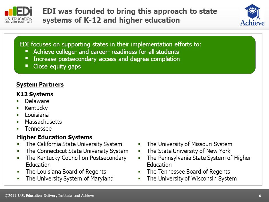 6 ©2011 U.S. Education Delivery Institute and Achieve EDI was founded to bring this approach to state systems of K-12 and higher education EDI focuses