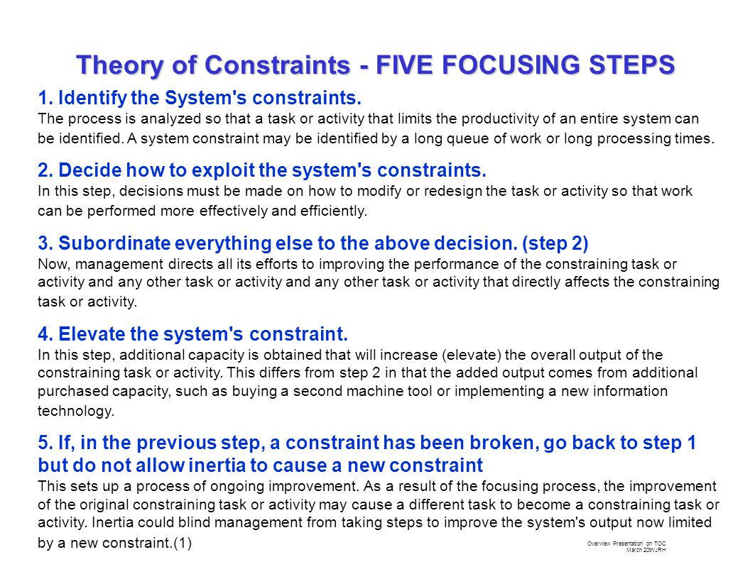 Overview Presentation on TOC March 20th/JRH 1. Identify the System s constraints.