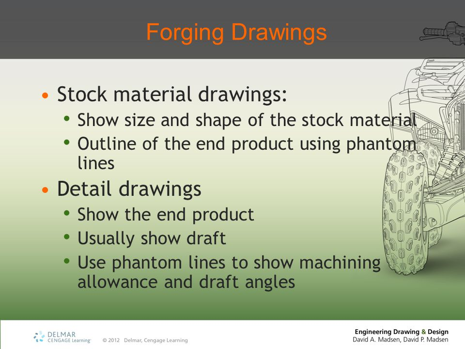 Forging Drawings Stock material drawings: Show size and shape of the stock material Outline of the end product using phantom lines Detail drawings Sho