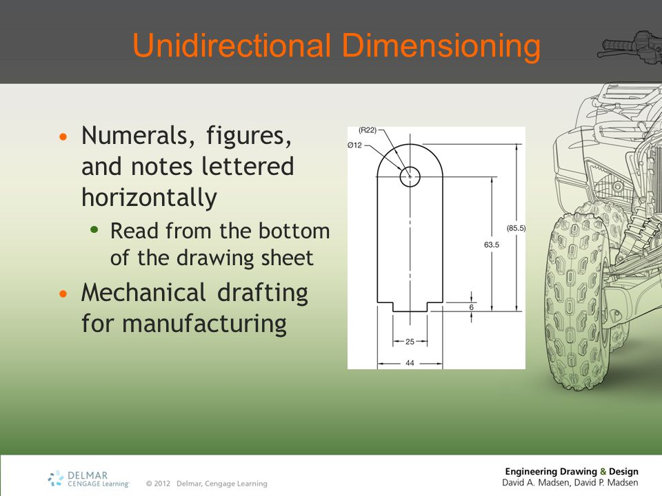 Unidirectional Dimensioning Numerals, figures, and notes lettered horizontally Read from the bottom of the drawing sheet Mechanical drafting for manuf