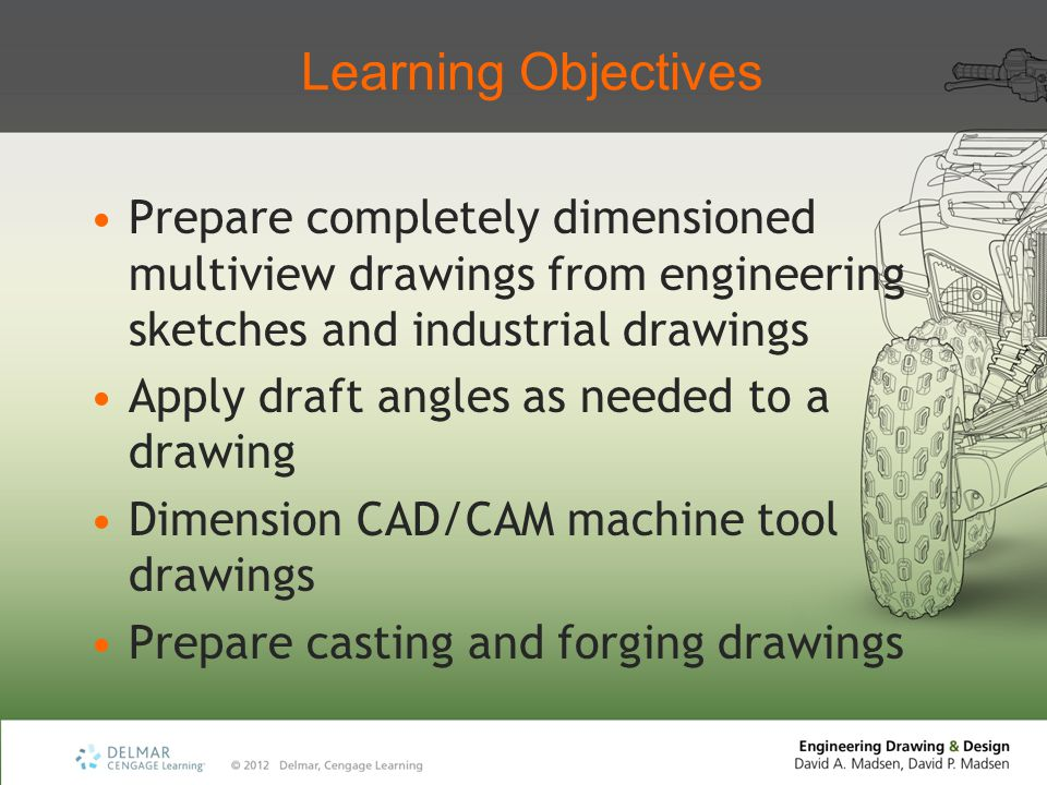Learning Objectives Prepare completely dimensioned multiview drawings from engineering sketches and industrial drawings Apply draft angles as needed t