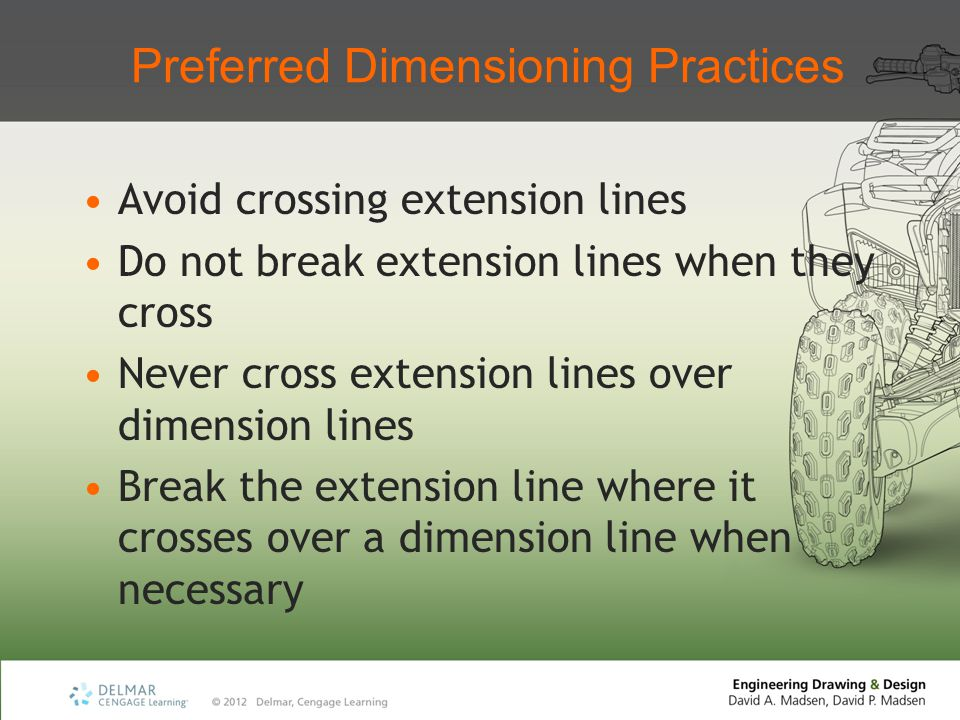 Preferred Dimensioning Practices Avoid crossing extension lines Do not break extension lines when they cross Never cross extension lines over dimensio