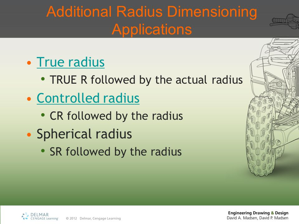 Additional Radius Dimensioning Applications True radius TRUE R followed by the actual radius Controlled radius CR followed by the radius Spherical rad
