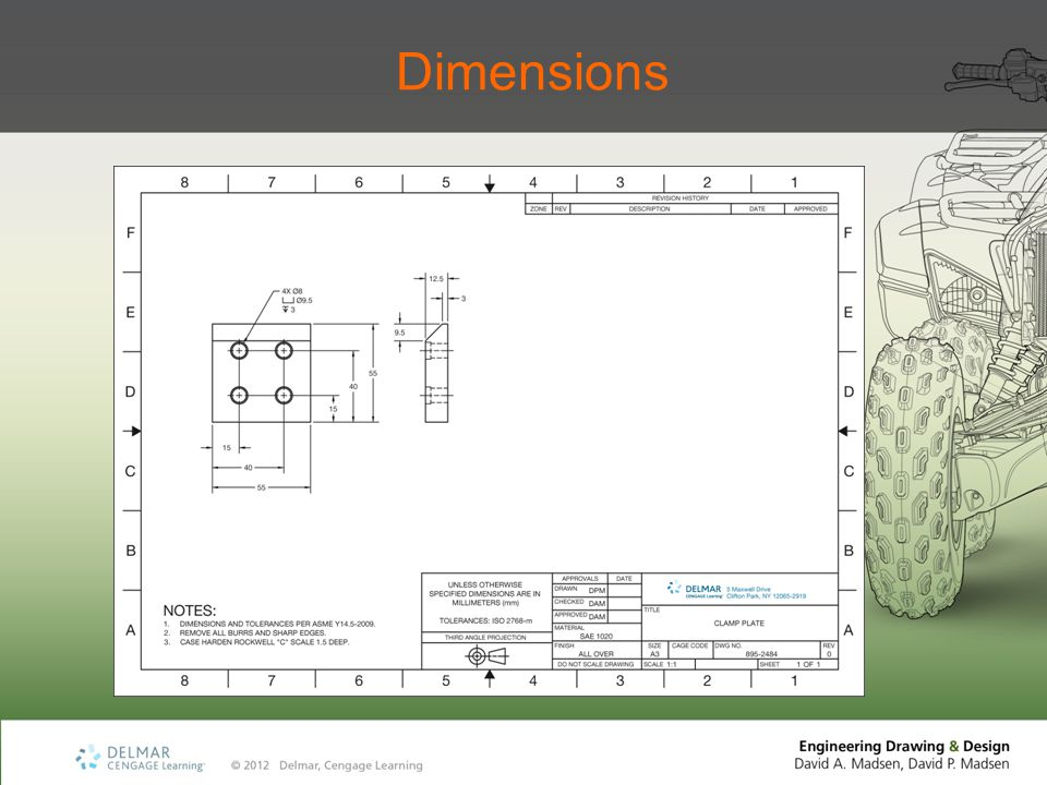 Unidirectional Dimensioning Numerals, figures, and notes lettered horizontally Read from the bottom of the drawing sheet Mechanical drafting for manufacturing