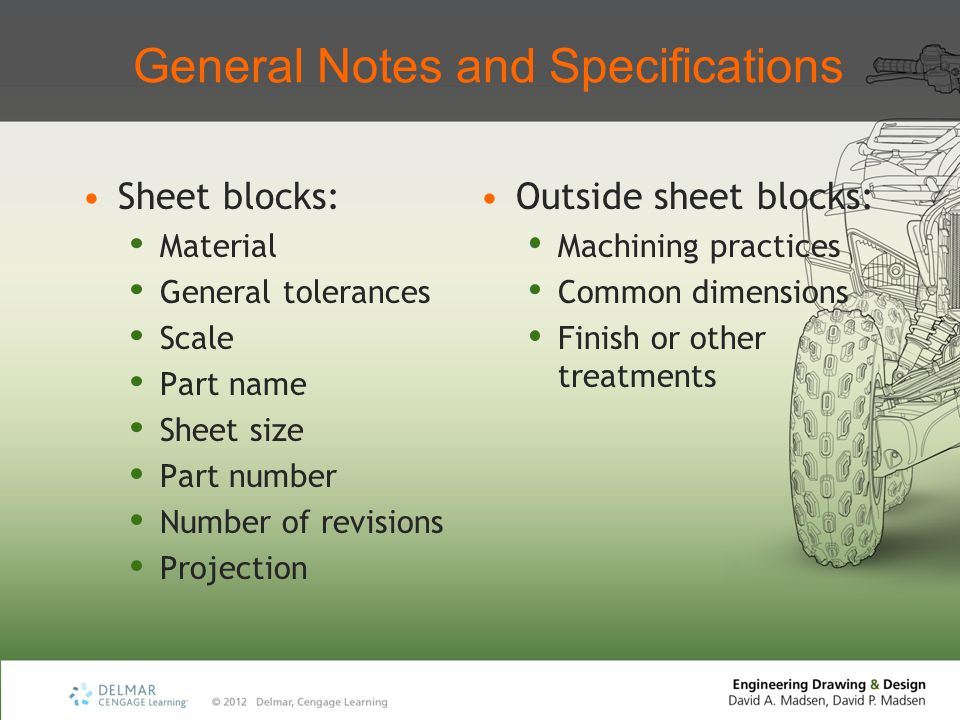 General Notes and Specifications Sheet blocks: Material General tolerances Scale Part name Sheet size Part number Number of revisions Projection Outsi