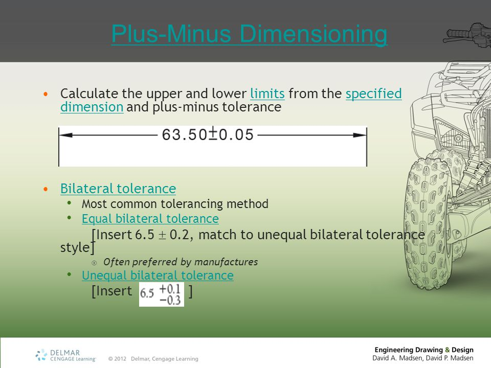 Plus-Minus Dimensioning Calculate the upper and lower limits from the specified dimension and plus-minus tolerancelimitsspecified dimension Bilateral