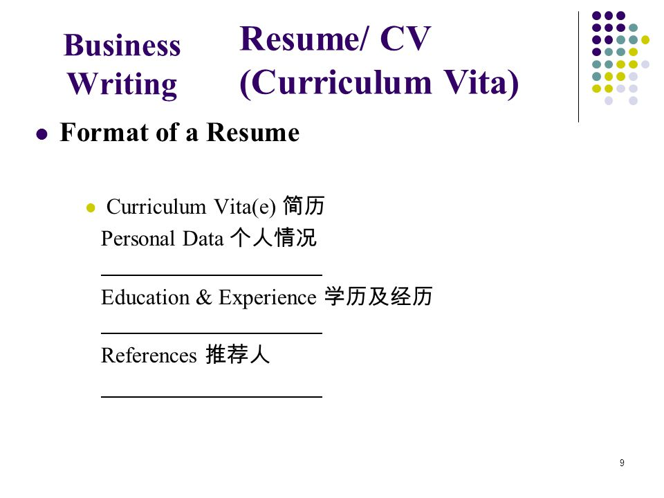 9 Business Writing Format of a Resume Curriculum Vita(e) 简历 Personal Data 个人情况 Education & Experience 学历及经历 References 推荐人 Resume/ CV (Curriculum Vita)